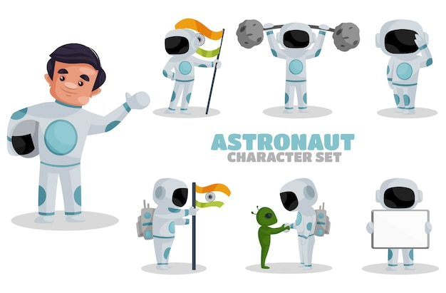 Illustration of astronaut character set