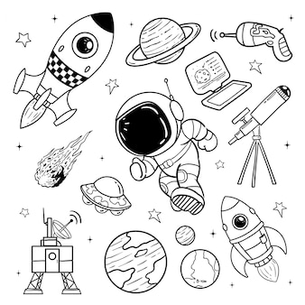 Illustration of astronaut doodle