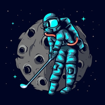 Illustration astronaut golf