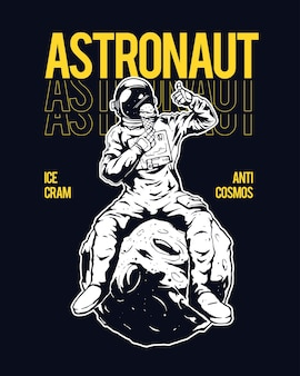 Illustration of astronaut sitting on the moon