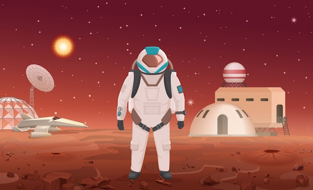 Illustration of astronaut in spacesuit standing at colony on planet.