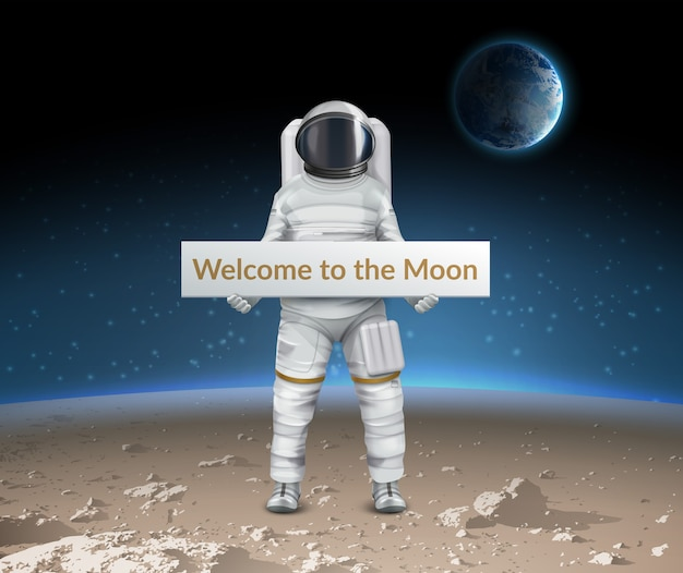 Illustration of astronaut stand on surface of moon and welcomes us