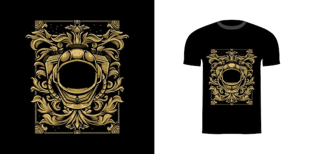 Иллюстрация космонавта с гравировкой орнамента для дизайна футболки