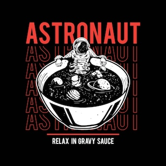 Illustration of astronauts bathing in soup for tshirt design