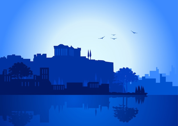 Illustration of athens skyline