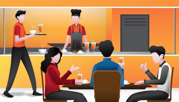 イラスト、レストランの雰囲気