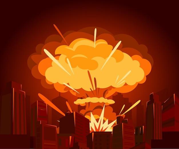 Illustration of atomic bomb in city. war and end of world concept in  e. dangers of nuclear energy.