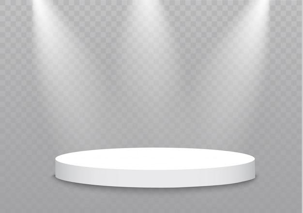 Подиум на прозрачном фоне. подиум победителей с яркими огнями. illustration.attention.