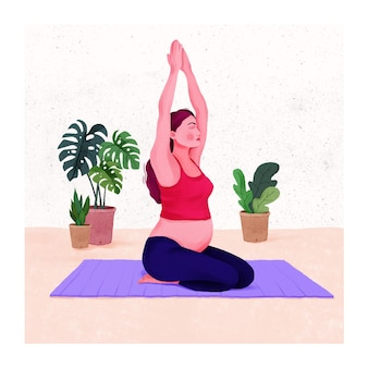 Illustration of attractive pregnant woman working out pregnant woman stretching exercise