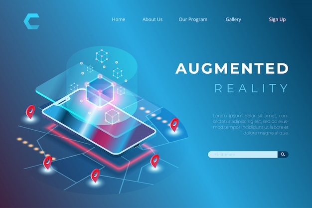 Illustration of augmented reality with future technological concepts in isometric style