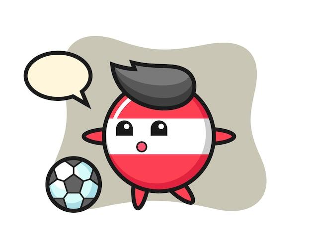 Illustration of austria flag badge cartoon is playing soccer
