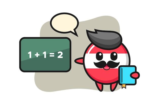 Illustration of austria flag badge character as a teacher
