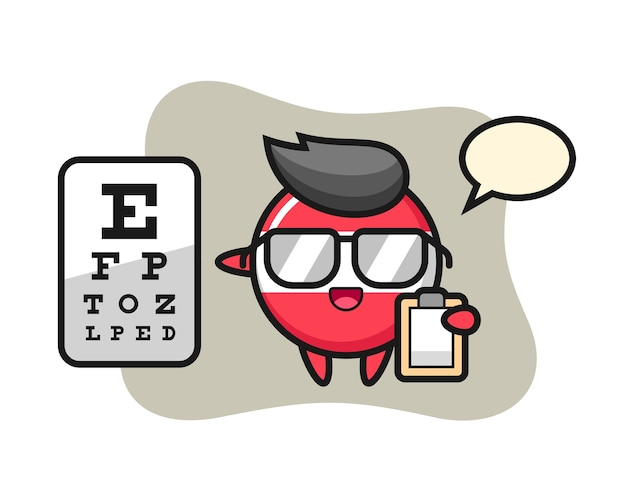 Illustration of austria flag badge mascot as a ophthalmology