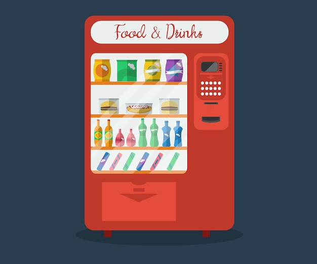 Illustration of automatic vending machine. sale equipment for retail store with water and drinks bottles, snack, sandvitch, hot dog