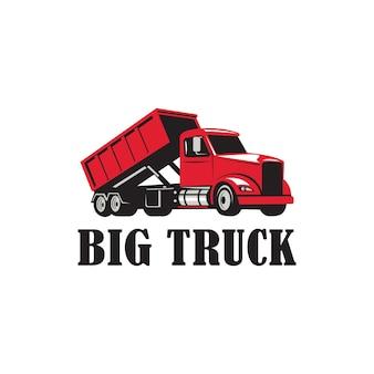 Иллюстрация автомобильный большой грузовик, автомобильный транспорт, дорожный логотип, шаблон, знак