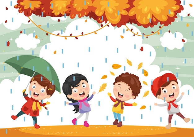 Illustration of autumn children