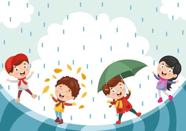 Illustration of autumn children