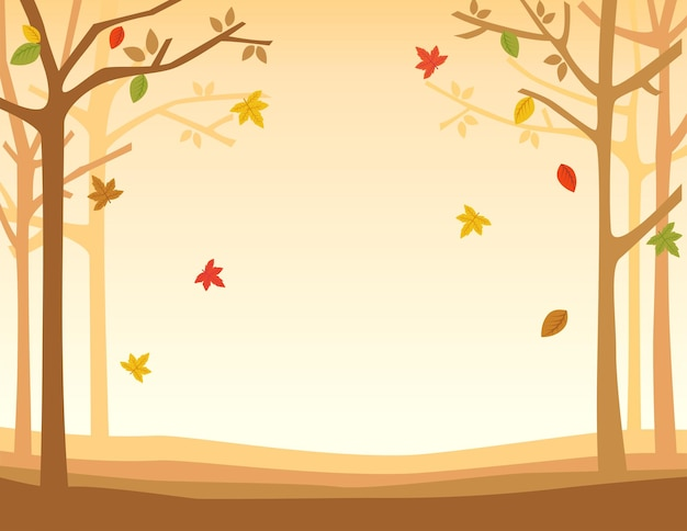 Illustration autumn fall with leaf background.