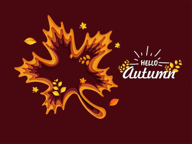 Illustration of autumn leaf on brown background.