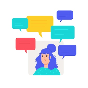 Illustration of avatar girl with text messaging.