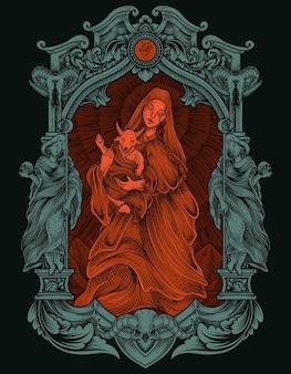 Иллюстрация ребенок бафомет и мать с гравировкой в стиле орнамента