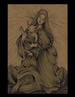 Иллюстрация ребенок бафомет и мать в стиле гравюры