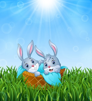 Illustration of baby bunnies in a basket with a towel on the grass background