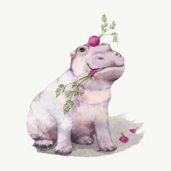 Illustration of a baby hippopotamus