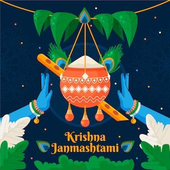Illustration of baby krishna eating butter