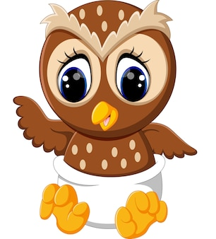Illustration of baby owl cartoon