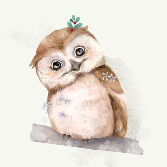 Illustration of a baby owl