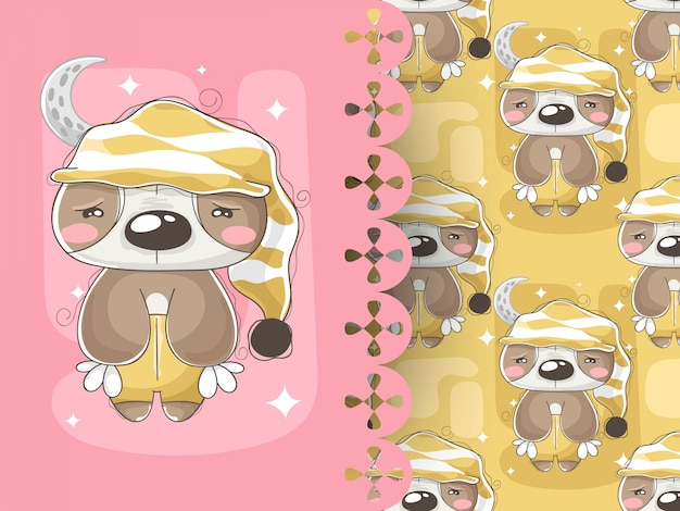 Illustration of baby sloth with sleepwear and pattern background