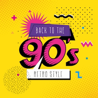 Illustration of back to the nineties retro style pop art