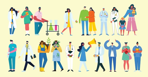 さまざまな活動をしているグループの人々のイラストの背景
