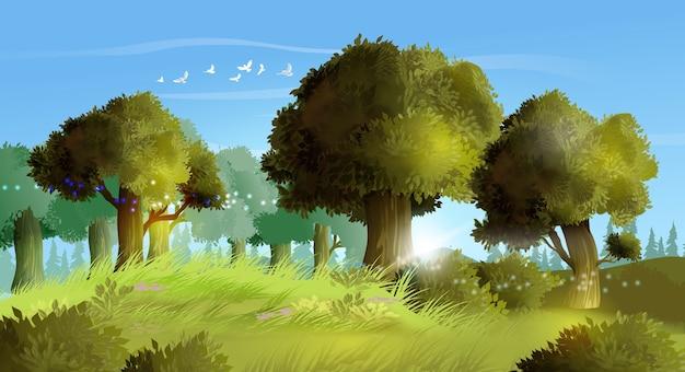 현실적인 여름 숲의 그림 배경입니다. 아름다운 나무, 잔디 및 작은 flovers 언덕 풍경. 푸른 잔디와 푸른 하늘 여름 풍경입니다.