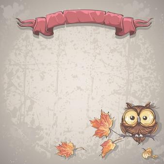 Иллюстрация фон с совой и осенними листьями