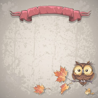 Illustration background with owl and autumn leaves
