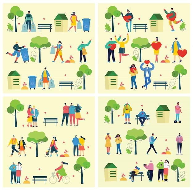Иллюстрации фонов в плоском дизайне группы людей на открытом воздухе в парке на выходные