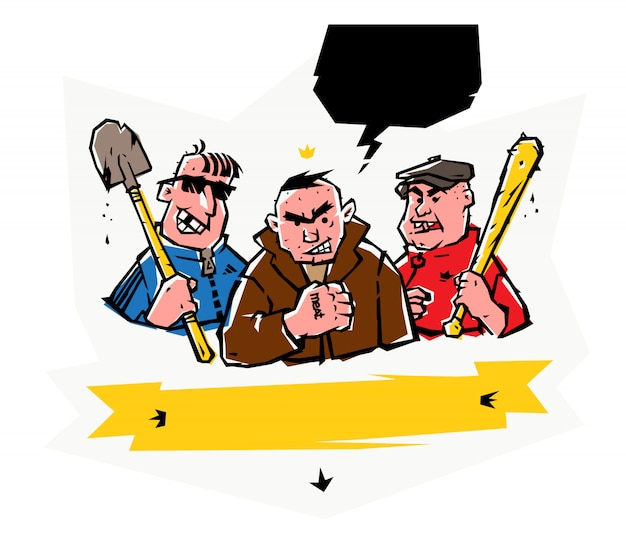 Illustration of bad guys. vector.