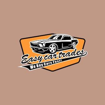 Illustration badge automotive classic car repair logo design template vector