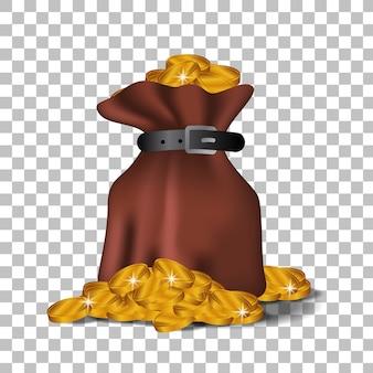 Illustration bag of golden coin money for economy