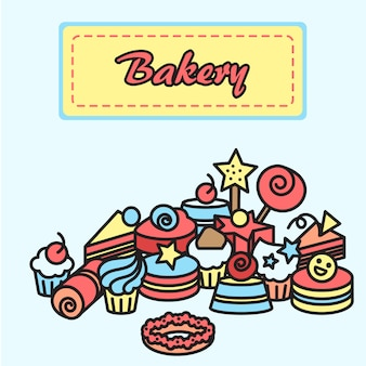 Illustration of bakery and cake icons sticker