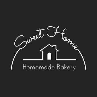 Illustration of bakery house stamp banner
