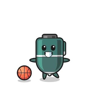 Illustration of ballpoint pen cartoon is playing basketball , cute design