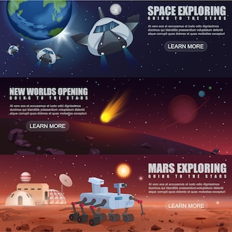 Illustration banner template of space flight spaceships exploration, alien planets in outer space, galaxy mars rover and colonization.
