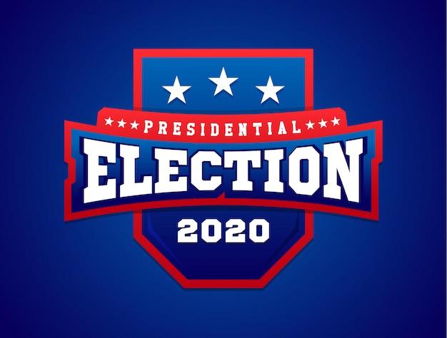 シールド付きイラストバナー。アメリカの国旗。大統領選挙。