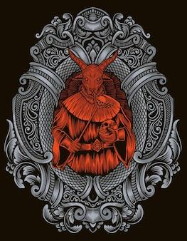 Illustration baphomet god with engraving ornament