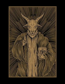 Illustration baphomet god with engraving style