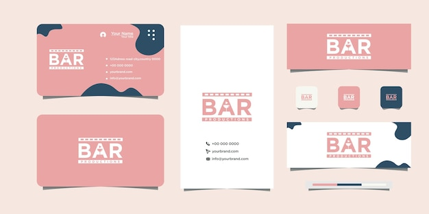 Illustration of bar lettering and business card