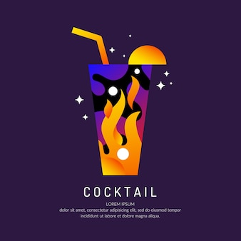 Illustration for bar menu alcoholic cocktail.   drawing of a drink